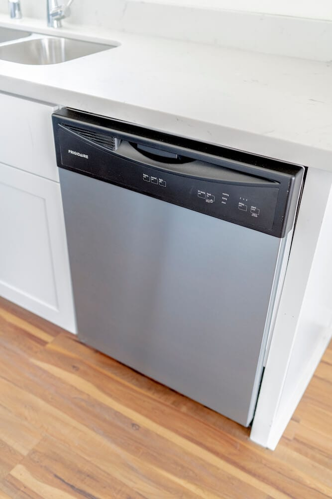 Stainless steel dishwasher from LA Intern student housing